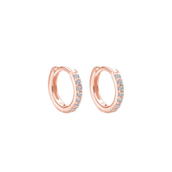Murkani Huggie Hoop Earrings with White Topaz in Rose Gold Plate