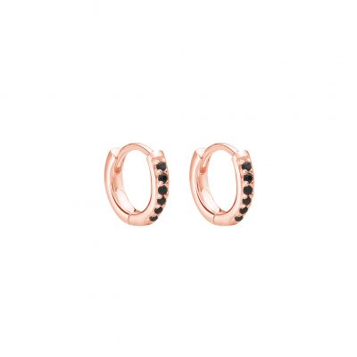 9mm Hoop Earrings with Black Spinel in Rose Gold Plate