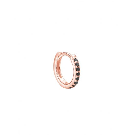 11mm Hoop Earring with Black Spinel in Rose Gold Plate (SINGLE)