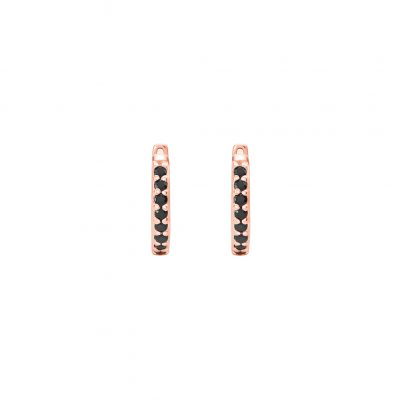 11mm Hoop Earrings with Black Spinel in Rose Gold Plate