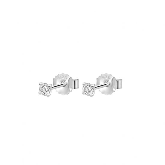 3mm Studs with White Topaz in Sterling Silver