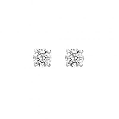 6mm Studs with White Topaz in Sterling Silver