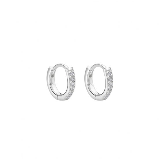 9mm Hoop Earrings with White Topaz in Sterling Silver