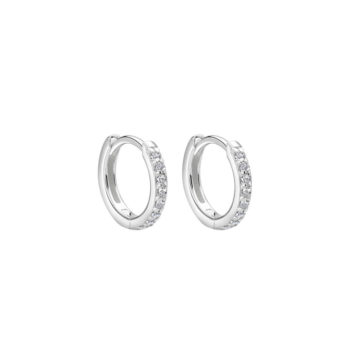 11mm Hoop Earrings with White Topaz in Sterling Silver