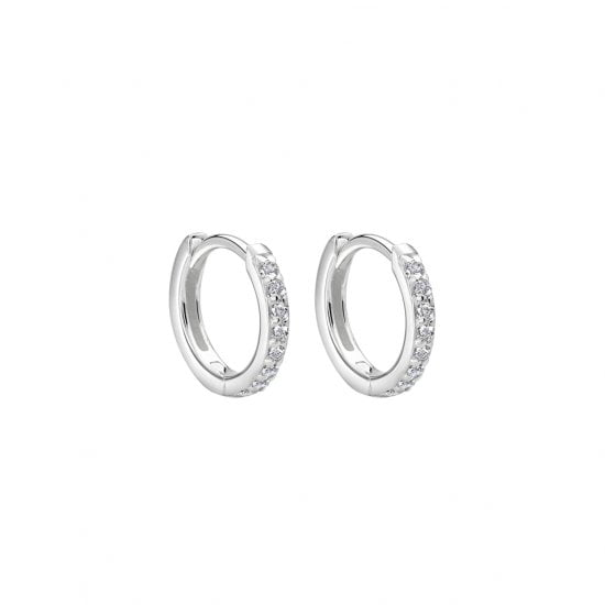 Murkani Huggie Earrings with White Topaz in Sterling Silver