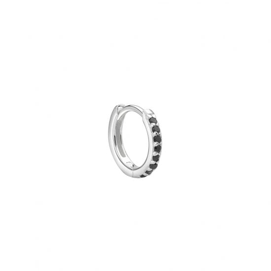 11mm Hoop Earring with Black Spinel in Sterling Silver (SINGLE)