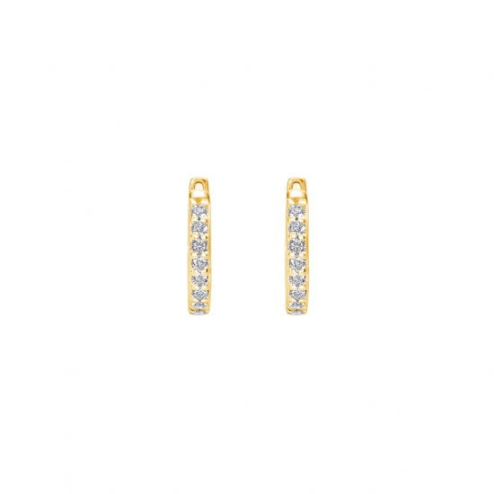 11mm Hoop Earrings with White Topaz in 18 KT Yellow Gold Plate