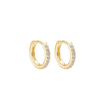 Murkani Huggie Hoop Earrings with White Topaz in 18 KT Yellow Gold Plate