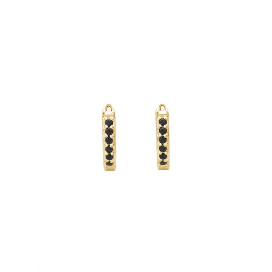 9mm Hoop Earrings with Black Spinel in 18 KT Yellow Gold Plate