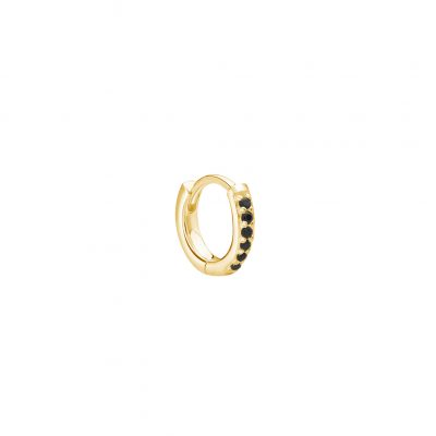 11mm Hoop Earring with Black Spinel in 18 KT Yellow Gold Plate (SINGLE)