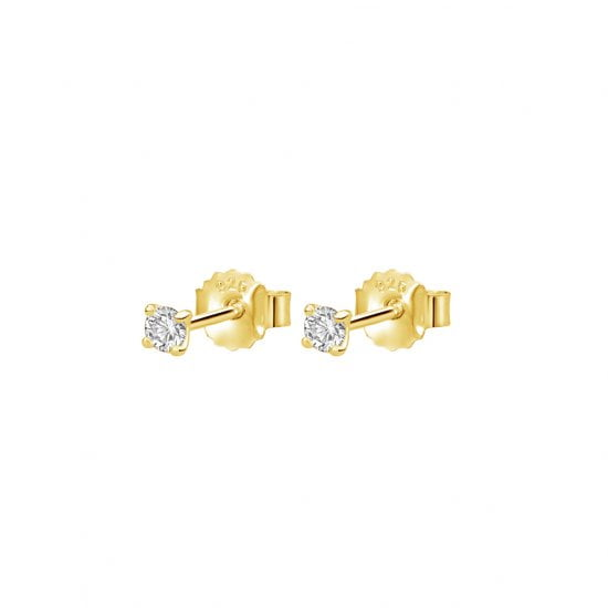 3mm Studs with White Topaz in 18 KT Yellow Gold Plate
