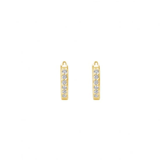 9mm Hoop Earrings with White Topaz in 18 KT Yellow Gold Plate