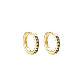 11mm Hoop Earrings with Black Spinel in 18 KT Yellow Gold Plate