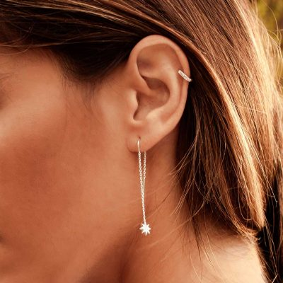 9mm Hoop Earrings with White Topaz in Rose Gold Plate