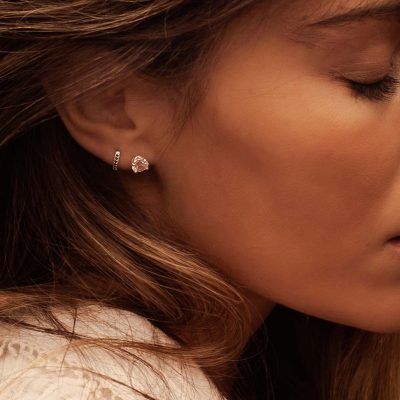 6mm Studs with White Topaz in 18 KT Yellow Gold Plate