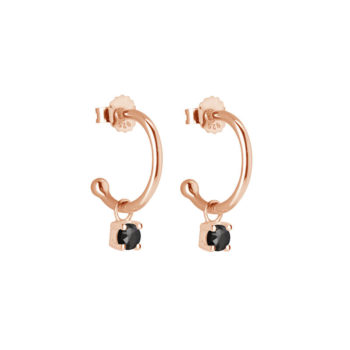 Murkani Small Hoop Earrings with Black Spinel Drops in Rose Gold