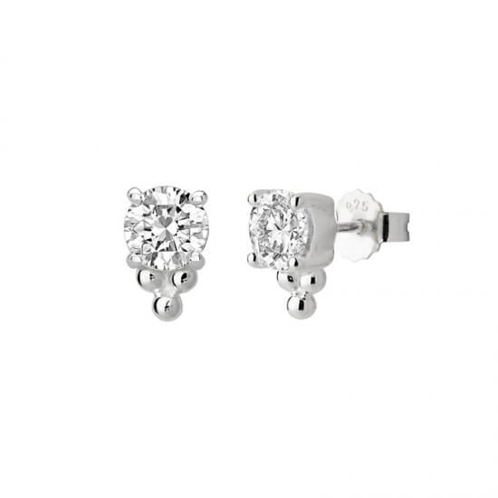 6mm Studs White Topaz & Balls
