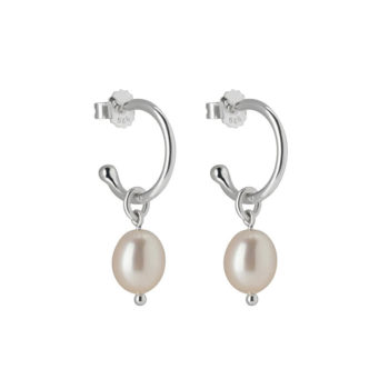 Murkani Small Pearl Hoop Earrings in Sterling Silver