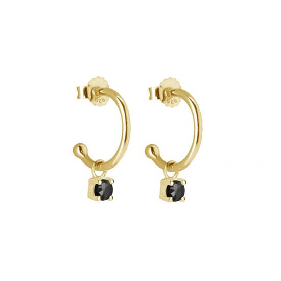 Small Hoop Earrings with Black Spinel Drops in 18 KT Yellow Gold