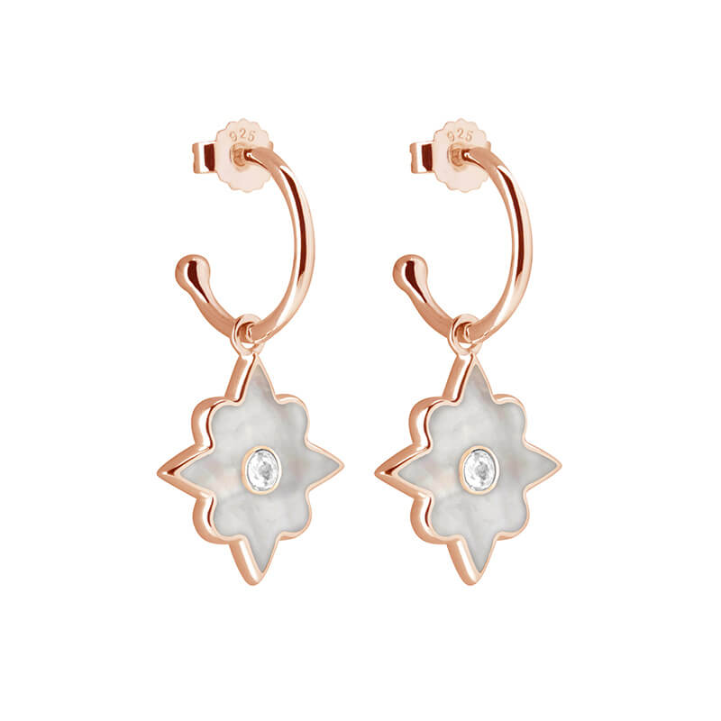 Rose Gold Small Hoop Earrings with Mother of Pearl