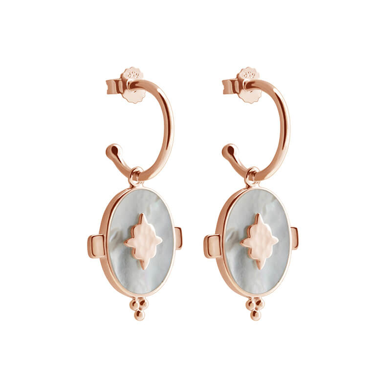 Oval Mother of Pearl Earirngs in Rose Gold Plate