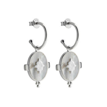 Oval Mother of Pearl Earrings in Sterling Silver