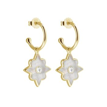 Small Hoop Earrings with Mother of pearl in Yellow Gold Plate