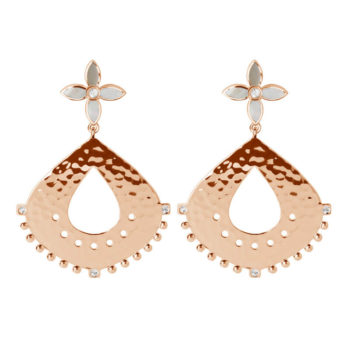 Temple Moon Hanging Earrings in Rose Gold Plate with Mother of Pearl and White Topaz
