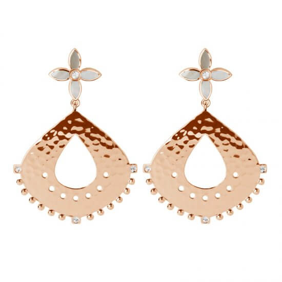 Temple Moon Hanging Earrings with Mother of Pearl