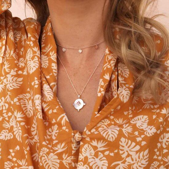 Mother of Pearl Necklace Rose Gold