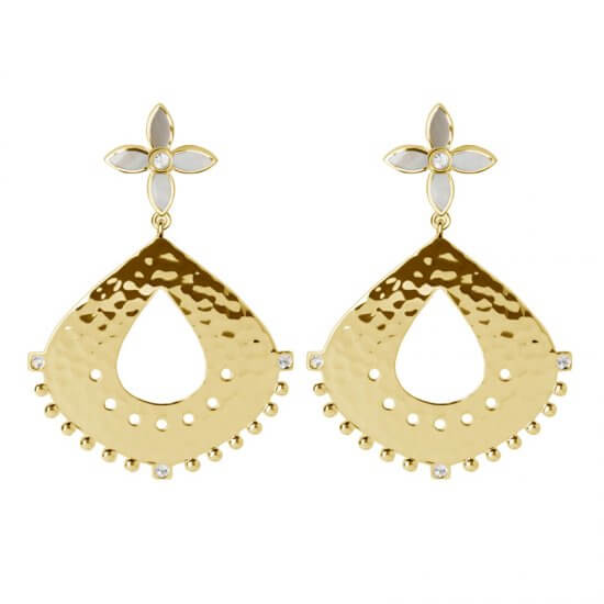Temple Moon Hanging Earrings in 18 KT Yellow Gold Plate with Mother of Pearl and White Topaz