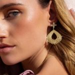 Temple Moon large Hanging Earrings 18 KT Yellow Gold Plate