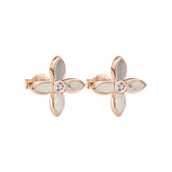 Desert Flower Small Earrings with Mother of Pearl in Rose Gold Plate