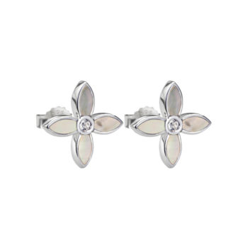 Desert Flower Small Earrings with Mother of Pearl in Sterling Silver