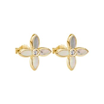 Desert Flower Small Earrings with Mother of Pearl in 18 KT Yellow Gold Plate