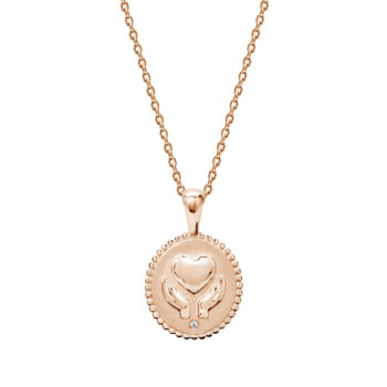 Freedom Healing Hands Necklace with White Topaz in Rose Gold Plate