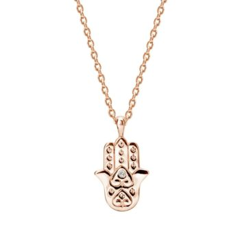 Freedom Hamsa Necklace with White Topaz in Rose Gold Plate