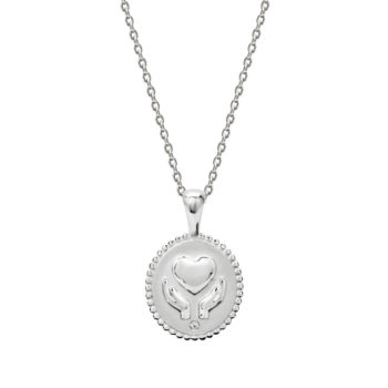 Healing Hands Necklace with White Topaz in Sterling Silver