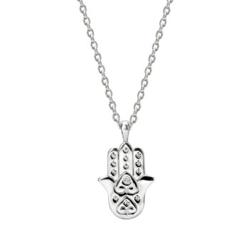 Freedom Hamsa Necklace with White Topaz in Sterling Silver