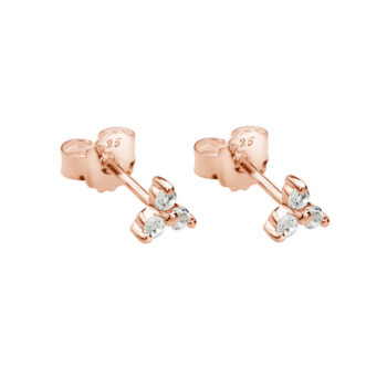 Trinity Ball Stud Earrings with White Topaz in Rose Gold Plate