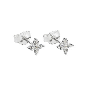 Clover Studs with White Topaz in Sterling Silver