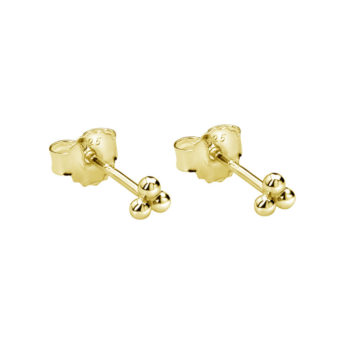 Trinity Ball Stud Earrings in 18 KT Yellow Gold Plate