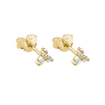 Trinity Ball Stud Earrings with White Topaz in 18 KT Yellow Gold Plate