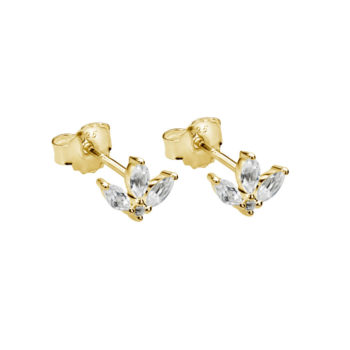 Lotus Studs in White Topaz in 18 KT Yellow Gold Plate
