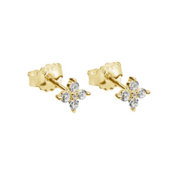 Clover Studs with White Topaz in 18 KT Yellow Gold Plate