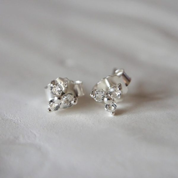 White Topaz Small Earrings sterling silver