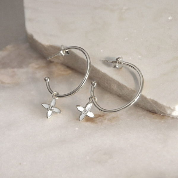 Mother of Pearl Hoops silver