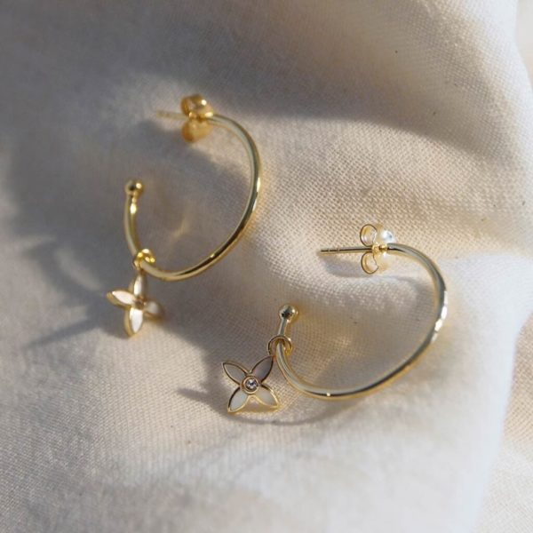 Floral Hoops yellow gold