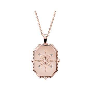 compass necklace rose gold