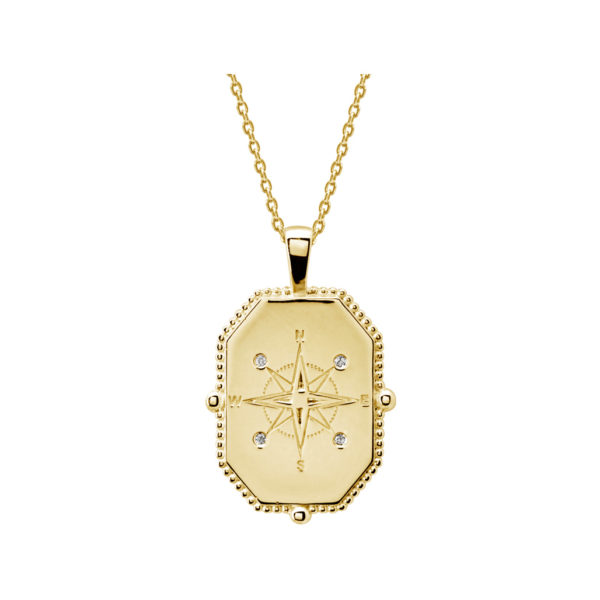 compass necklace yellow gold